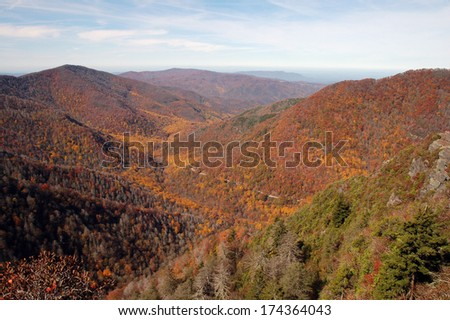 Fall Colors View from Chimney Tops Trail, Great Smoky Mountains National Park, Tennessee, USA