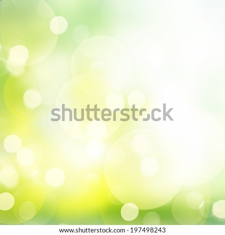 fall green and yellow garden  bokeh background with sun beams