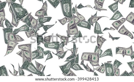 Falling banknotes of dollar isolated on white background