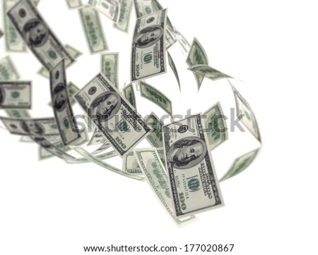 Falling dollar bills on white background