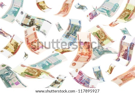 Falling Roubles (isolated on white background). Conceptual business image.