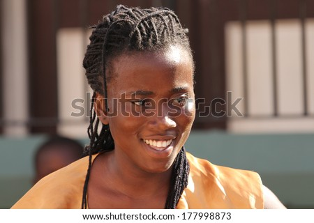 FALMOUTH, JAMAICA � MAY 11: An unidentified woman outside the port of Falmouth on MAY 11, 2011 in Jamaica ahead of the national labor day celebrations.