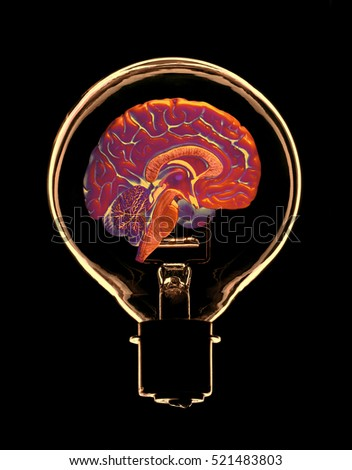 FALSE COLOUR IMAGE OF GLASS ELECTRIC LIGHT BULB CONTAINING HALF OF HUMAN BRAIN