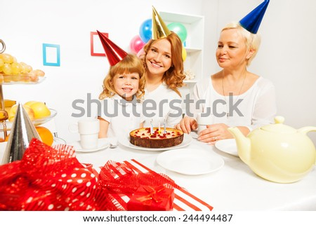 Family celebration of girl's birthday