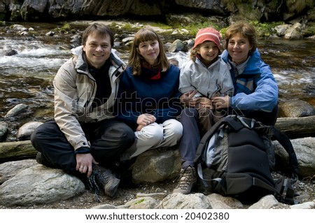 Family in mountain trip