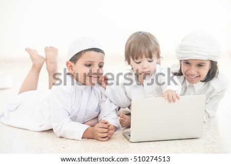 Family kids on laptop