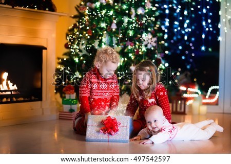 Christmas photo surprised family stock photo 517331215 for Best warm places to live with a family