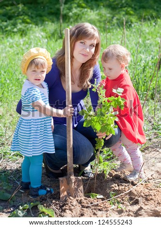 family planting sprouts with  spade outdoor