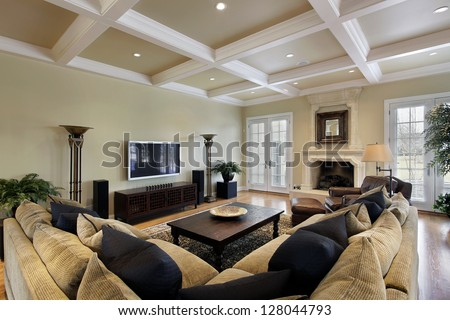 Large Family Room Fireplace Wall Windows Stock Photo 84447226