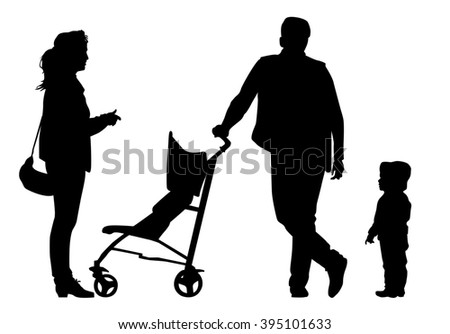 Family with baby and pram on a walk. Man, woman and child. Silhouettes on a white background.