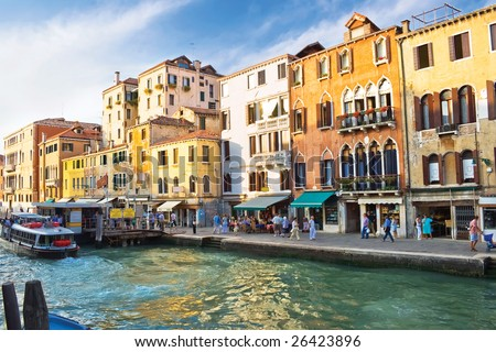 Famous Grand Canal in Venice and typical venetian architecture, Italy
