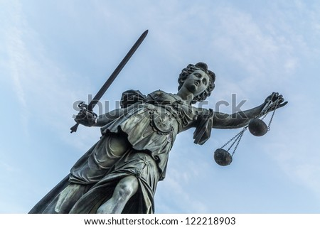 famous lady justice in Frankfurt under blue sky