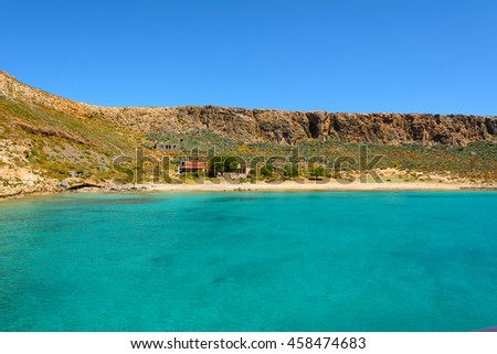 Famous lagoon with crystal sea water of Gramvousa island. Crete, Greece.