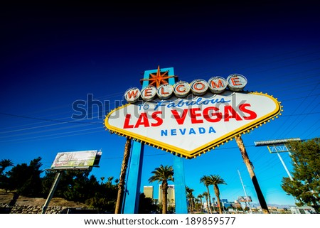 Famous Las Vegas sign on bright sunny day