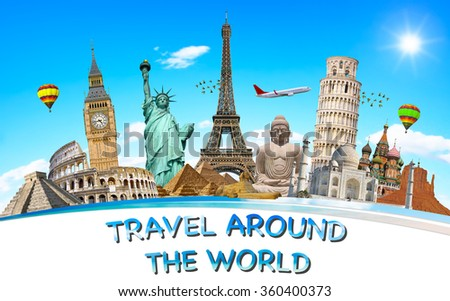 Famous monuments world grouped together stock photo for Monumental buildings around the world