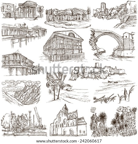 Set Hand Drawn Illustrations Different Houses Stock Vector ...