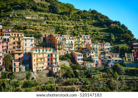 Famous town of Manarola in Cinque Terre at mediterranean sea / Colorful houses of ligurian village in Italy / Clear summer day at vecation destination