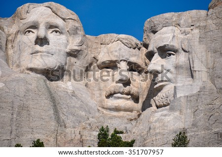Famous US Presidents on Mount Rushmore National Monument, South Dakota, USA.
