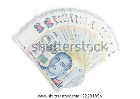 fan shaped singapore dollar notes