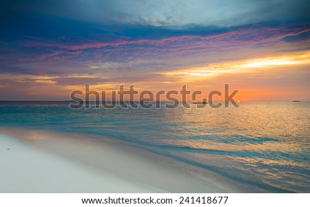 Fantastic bright color of sunset over Ocean.
