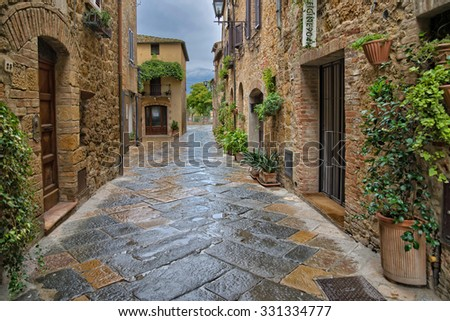 Fantastic nooks and crannies in Pienza. Pienza is the medieval Italian village in Tuscany. In 1996, UNESCO declared the town a World Heritage Site.