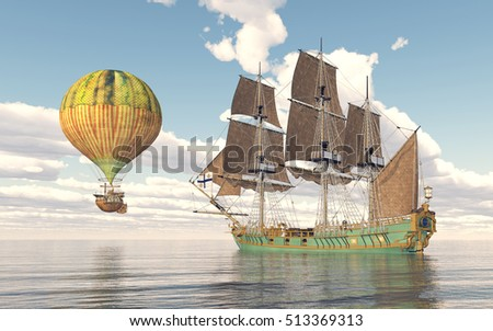 Fantasy hot air balloon and sailing ship Computer generated 3D illustration