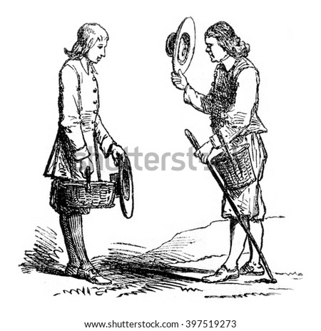 Farmers, vintage engraved illustration. Magasin Pittoresque 1869.
