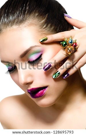 Fashion beauty manicure makeup nail art stock photo 129350864 fashion beauty manicure and make up nail art beautiful woman with colorful prinsesfo Gallery