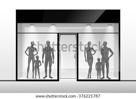 Fashion Clothing Shop Boutique Store Front with Big Window and Mannequins