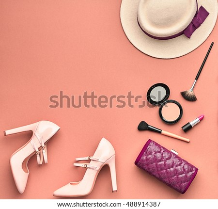 Fashion Lady Accessories Set Fashion Cosmetic Stock Photo