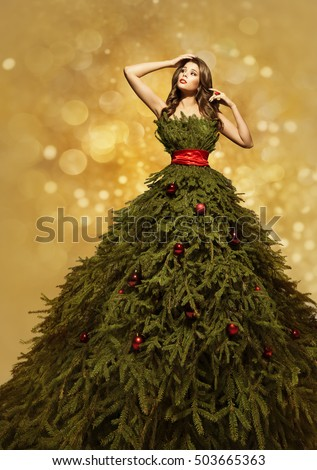 Fashion Model Christmas Tree Dress, Woman Xmas Gown, New Year Clothing Decoration
