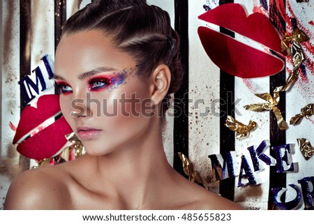 Fashion Model Girl. Holiday Woman over Glowing Bright Background. Fashion Art Girl Portrait With Violet Hair. Creative Hairstyle and Makeup. Make-up. Night Party. Make up concept