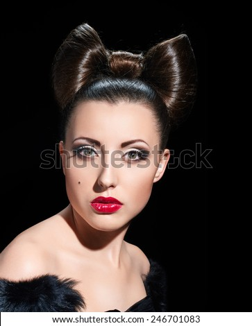 Fashion Model Girl Portrait. Creative Hairstyle. Hairdo. Make up. coiffure bow