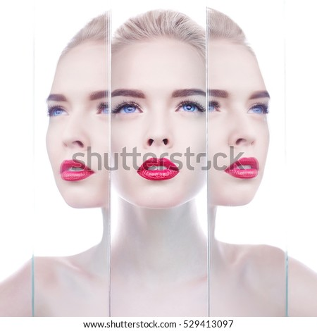 Fashion studio portrait of beautiful blonde woman with perfect makeup. Red lips.  Beautiful red lipstick. Professional cosmetic. Sexy lips. Young woman with bright lipstick. Fashionable woman portrait