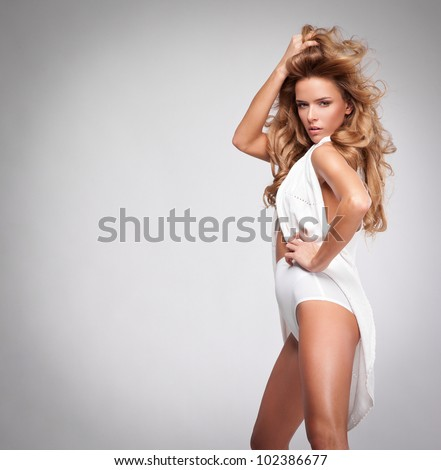 fashion style photo of beautiful blonde woman