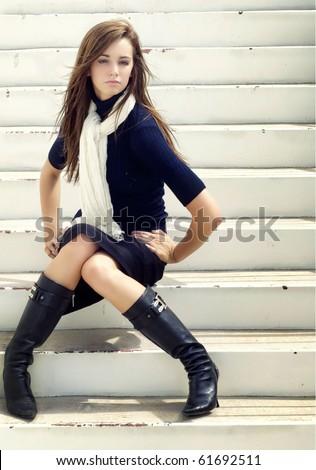 stock photo fashion style portrait of beautiful young woman wearing elegant stylish clothing pencil skirt 61692511