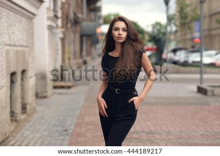 Images woman in black dress