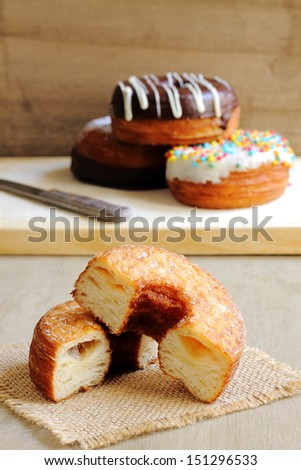 Fashionable puff pastries, half croissant and half donut