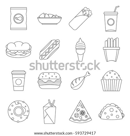 outline fast food Emblem of drawn food items such as pizza slices and fries, over a black  background items are displayed among two crossing lines in the middle perfect  for.