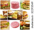 Fastfood collage with lots of hamburgers - stock photo