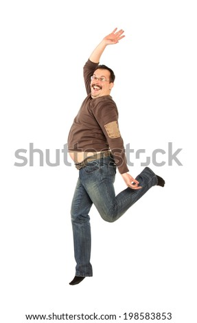 Fat man Jumping high, isolated on white