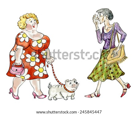 Fat woman with dog walking meeting thin lady watercolor painted illustration