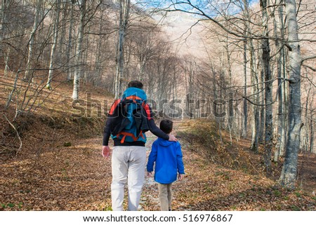 Father and son hiking