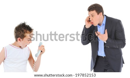 Father and son is arguing while talking over the telephone. Isolated on white background