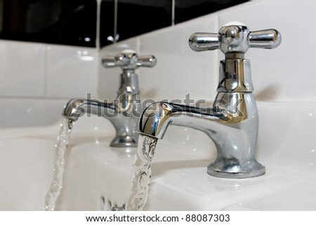 Faucets with running water