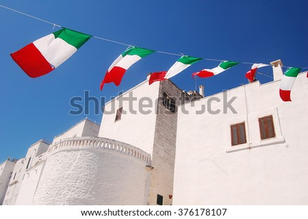 Feast in Ostuni the white city of Murgia in Puglia - Tricolor flags in celebration in the city of Ostuni in the Murgia - Apulia - Italy