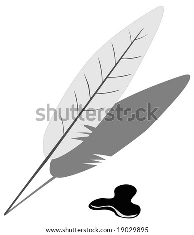 Feather and blot over white
