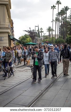 February 7,2016- Sevilla, Spain: In the picture we can see a demonstration of animal party through the streets of Seville