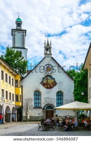 FELDKIRCH, AUSTRIA, JULY 25, 2016: People are wandering around the historical center of the Austrian city Feldkirch.