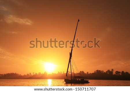 Felucca boat sailing on the Nile river at sunset, Luxor, Egypt